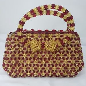 Red and Yellow Beaded Handbag with Satin Lining